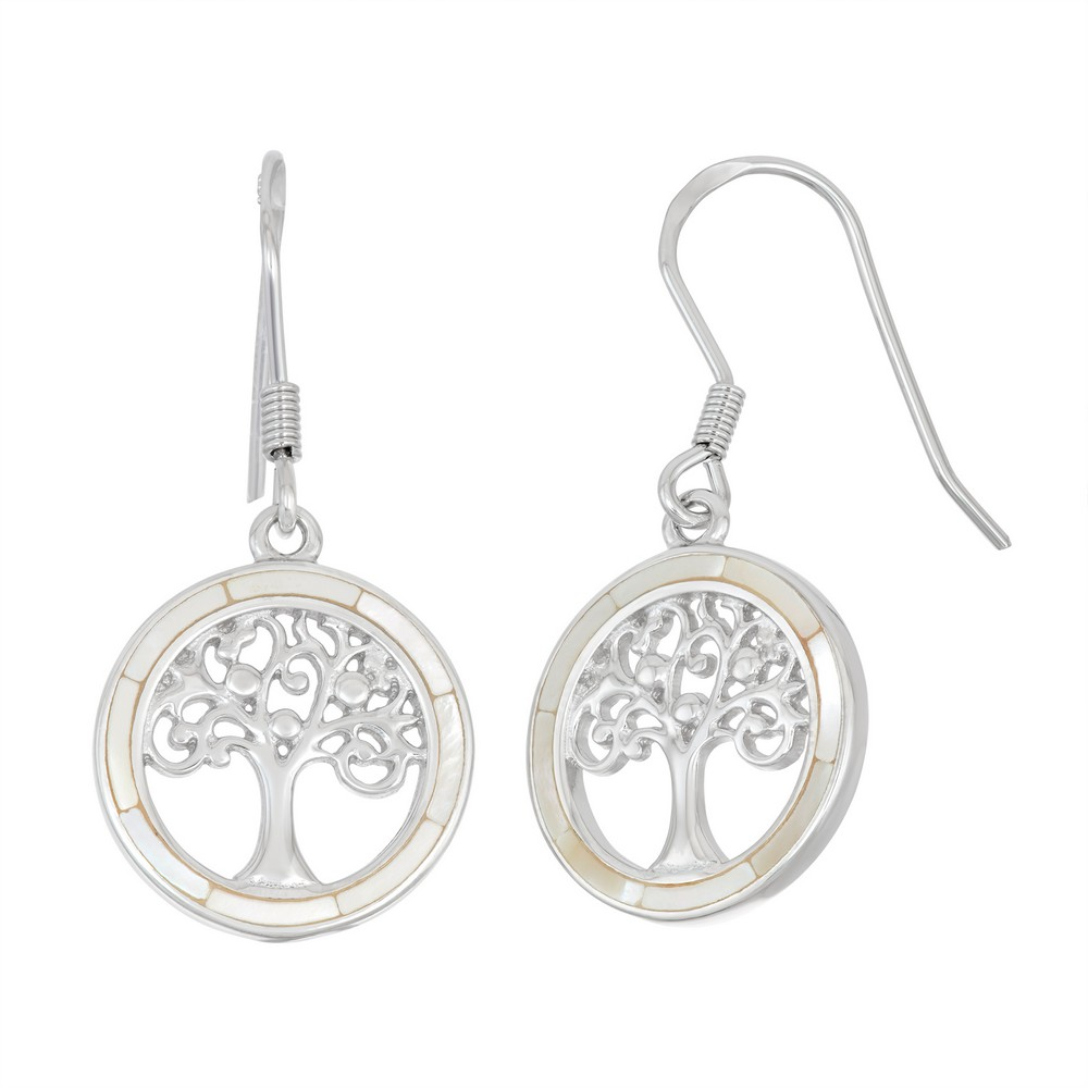 Sterling Silver Round White MOP with Center Tree of Life Earrings