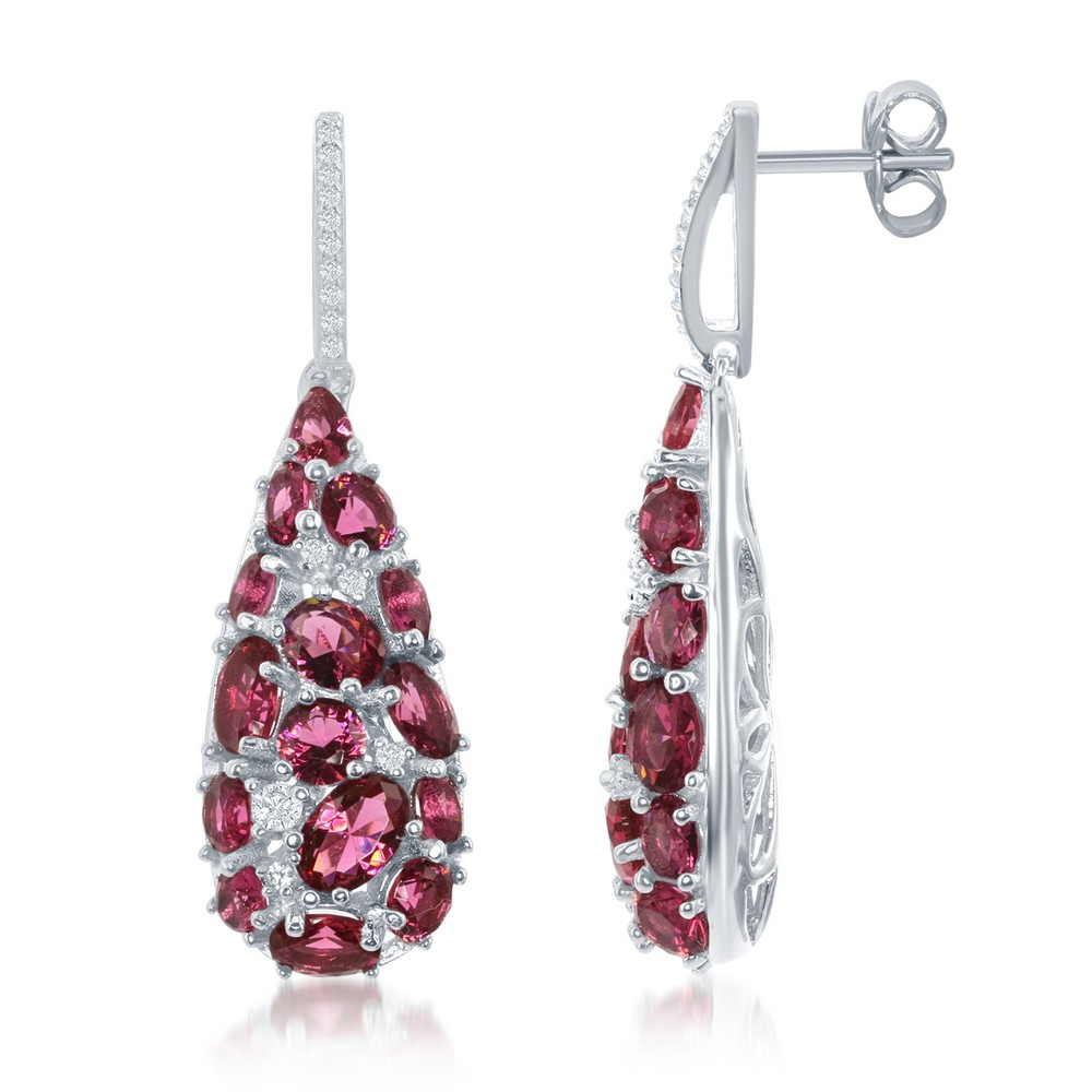 Sterling Silver Teardrop Created Pink Sapphire and White CZ Earrings