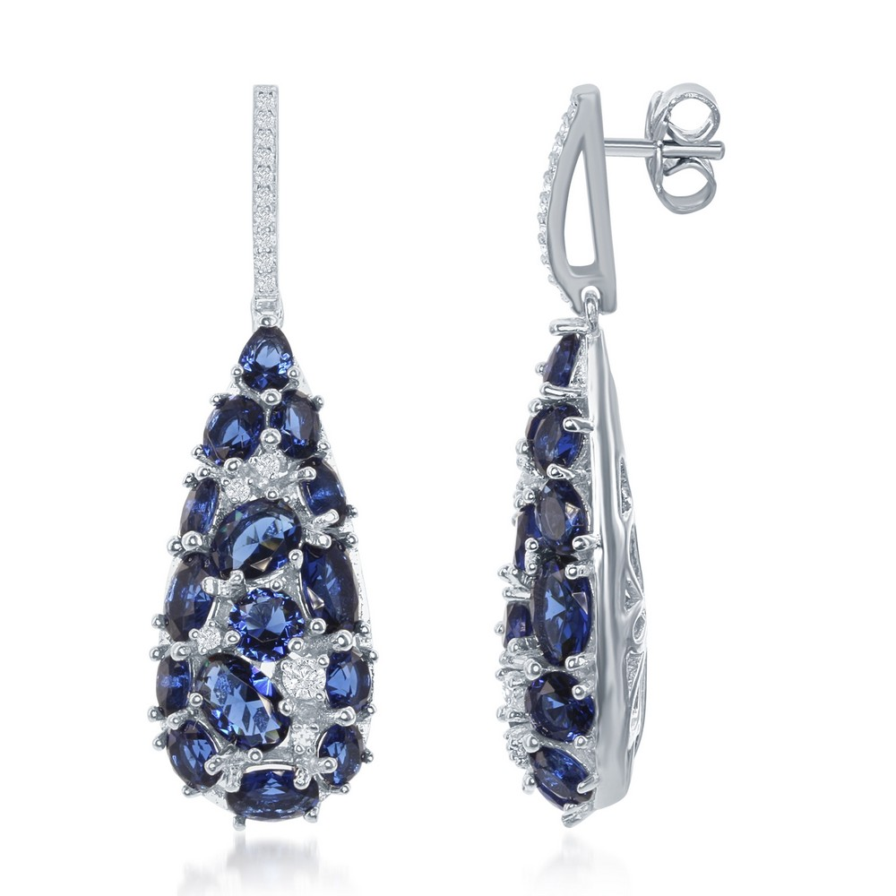 Sterling Silver Teardrop Created Blue Sapphire and White CZ Earrings