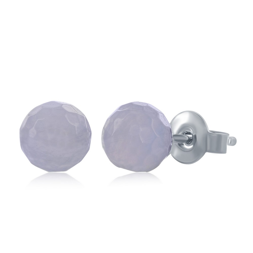 Sterling Silver Round Faceted Blue Lace Agate 6MM Stud Earrings