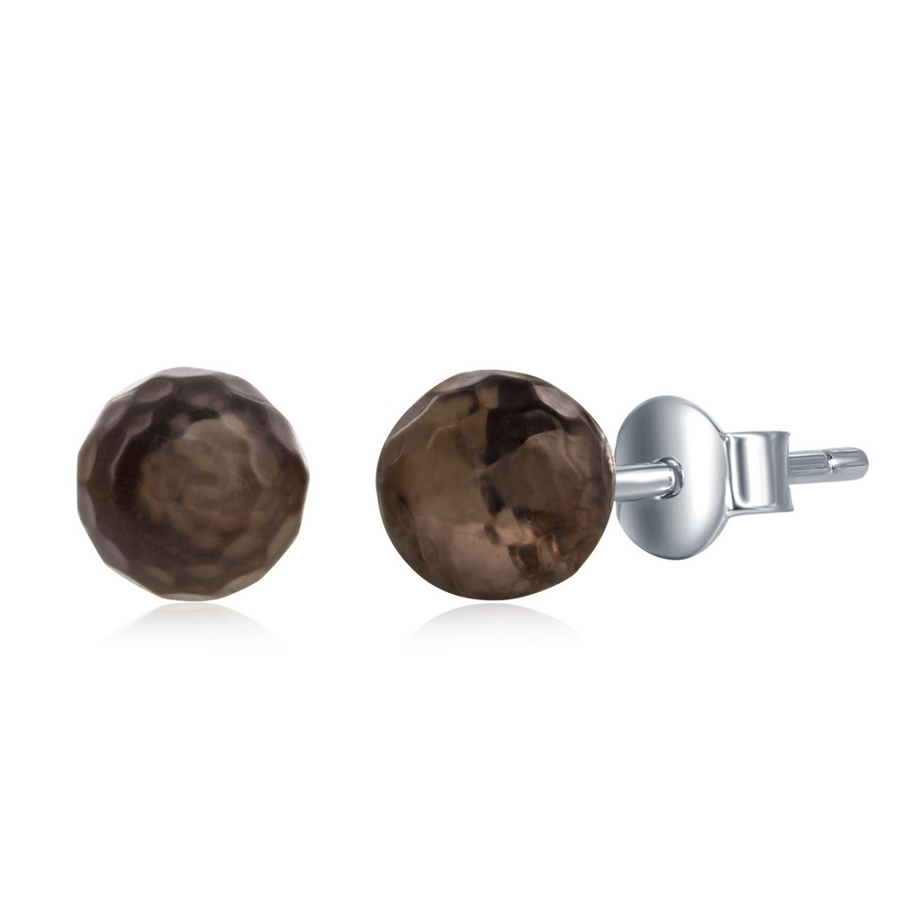 Sterling Silver Round Faceted Smokey 6MM Stud Earrings
