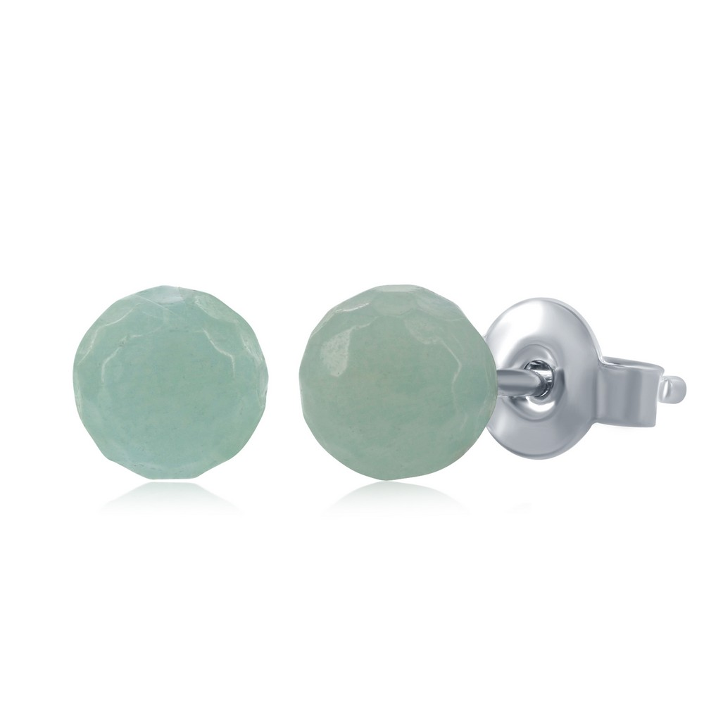Sterling Silver Round Faceted Amazonite 6MM Stud Earrings