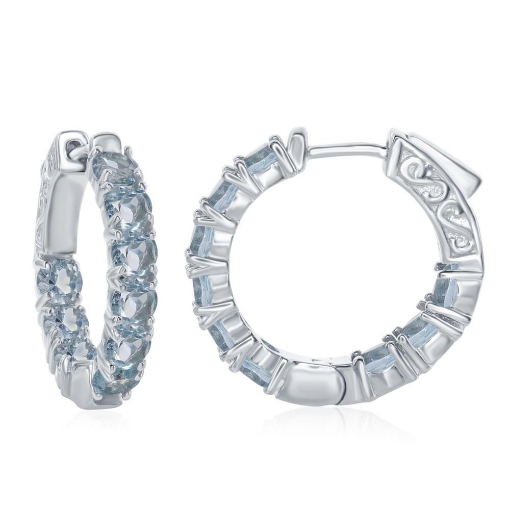 Sterling Silver Inside-Outside Blue Topaz Gemstone Hoop Earrings