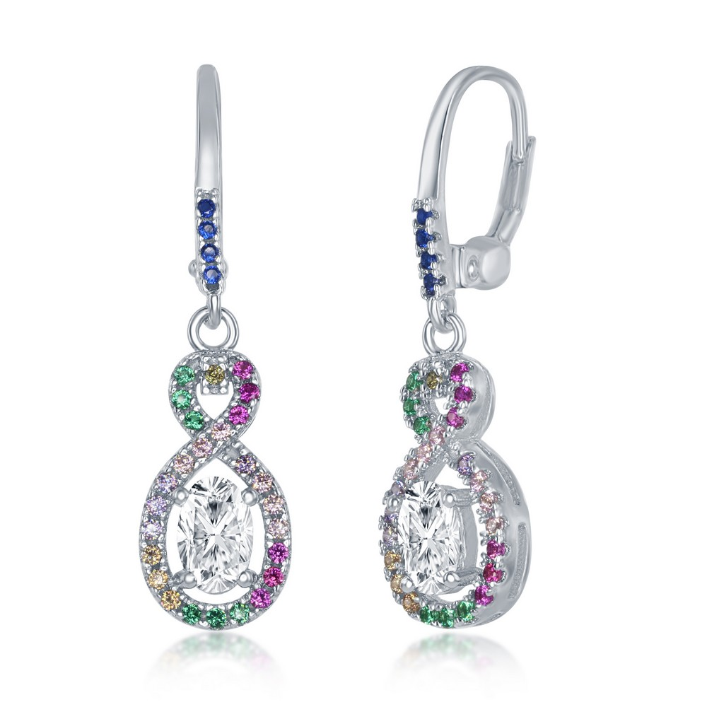 Sterling Silver Multi-Color CZ Infinity with Clear Oval CZ Earrings