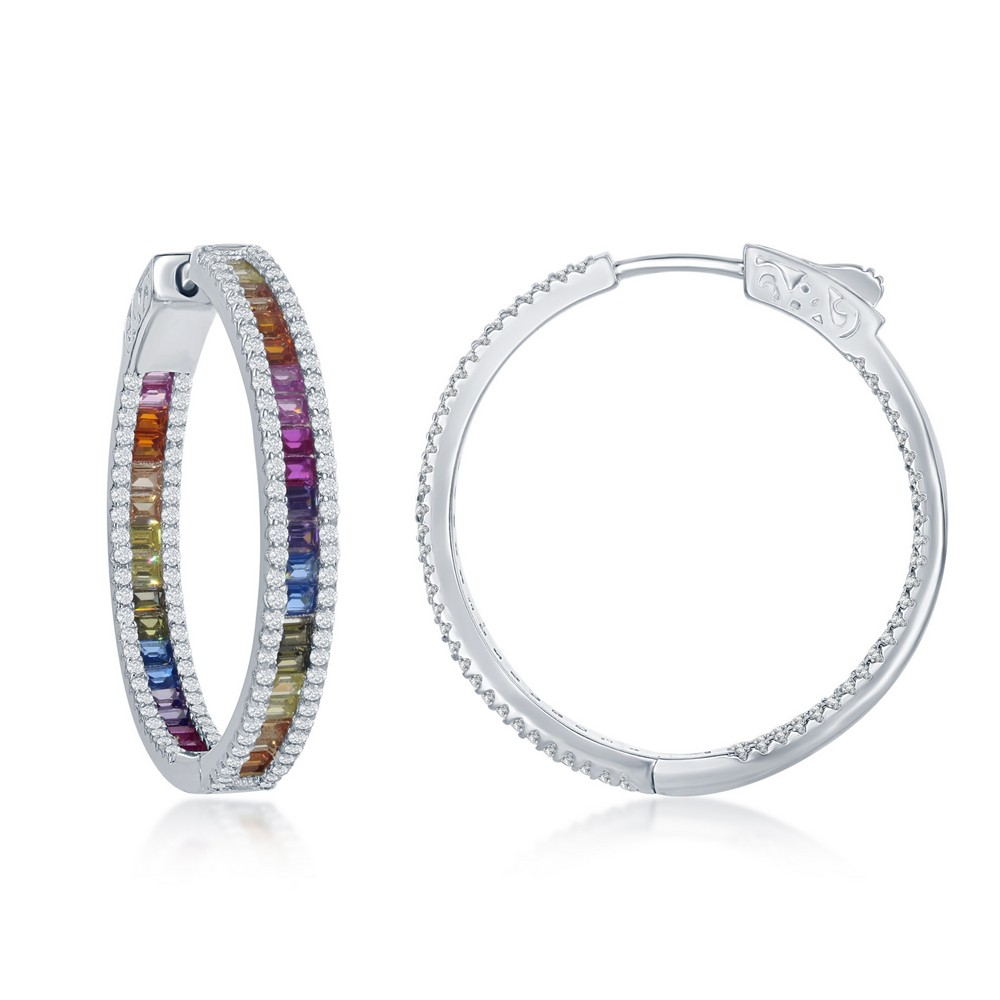 Sterling Silver 4x30mm Center Channel Set Rainbow and White CZ Border Hoop Earrings