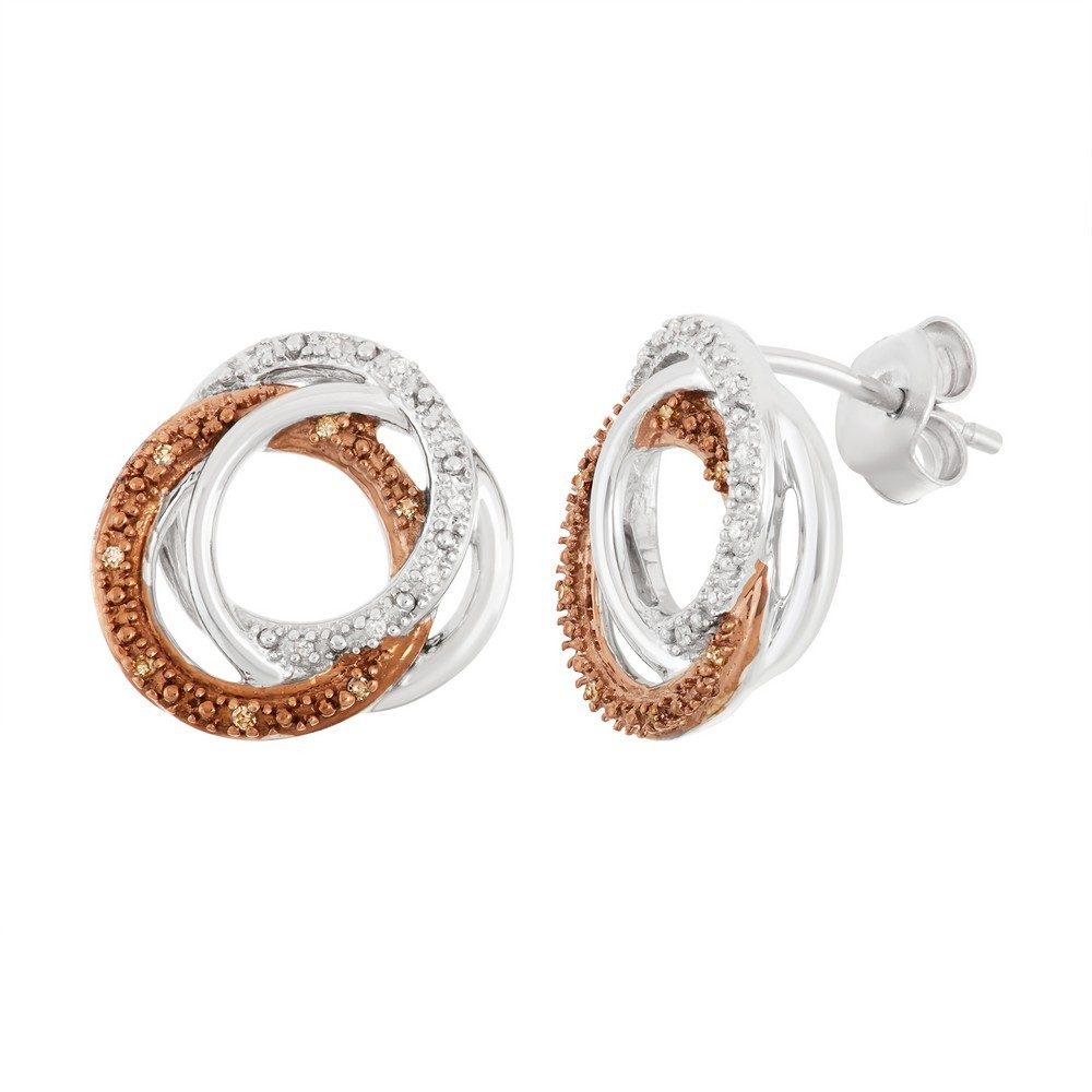 Sterling Silver Triple Rings With Shiny, White Diamond and Chocolate Diamond Accent Earrings .10 ct