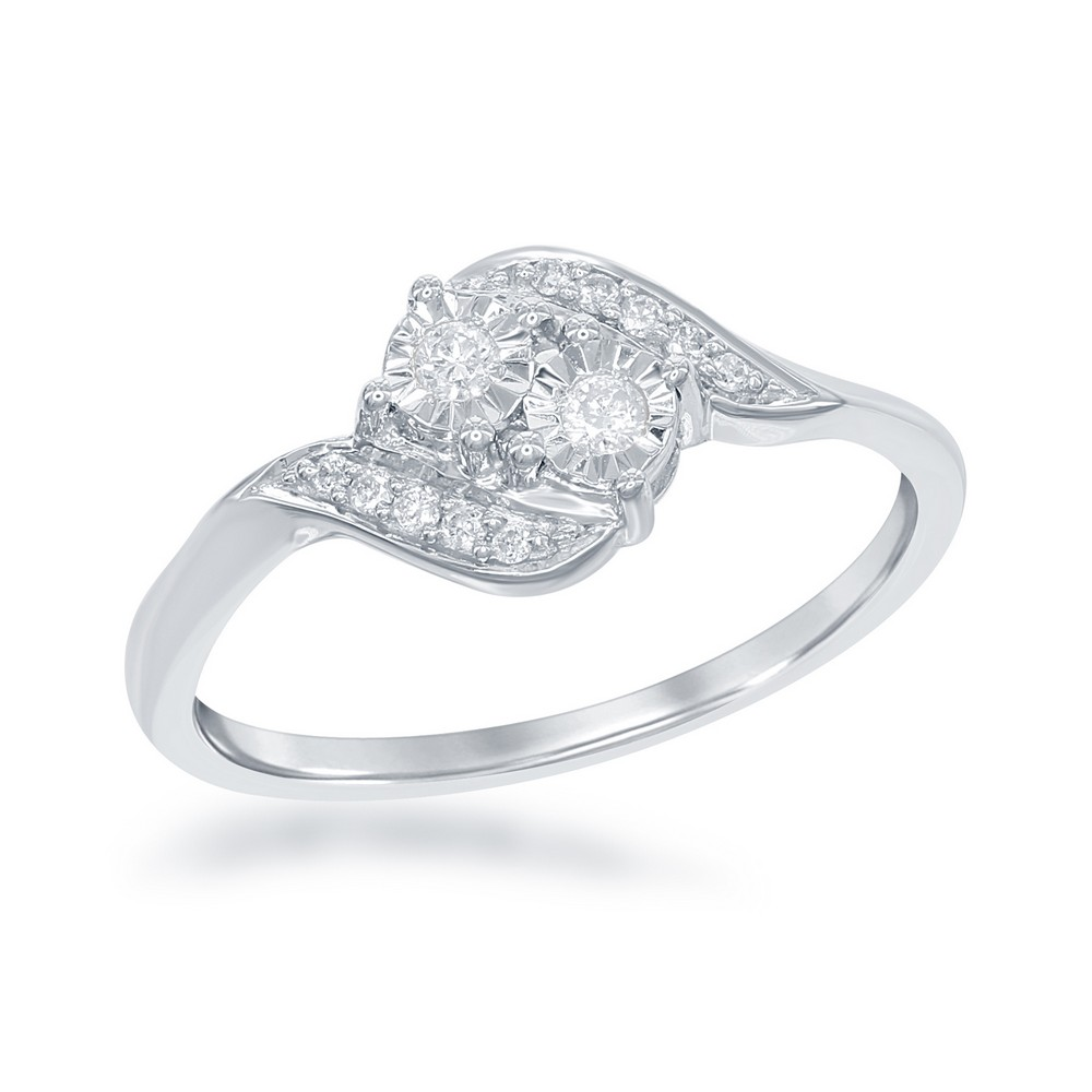 Sterling Silver Us2gether Square Two-Stone Diamond with Diamond Cut Border 1-8th cttw Ring