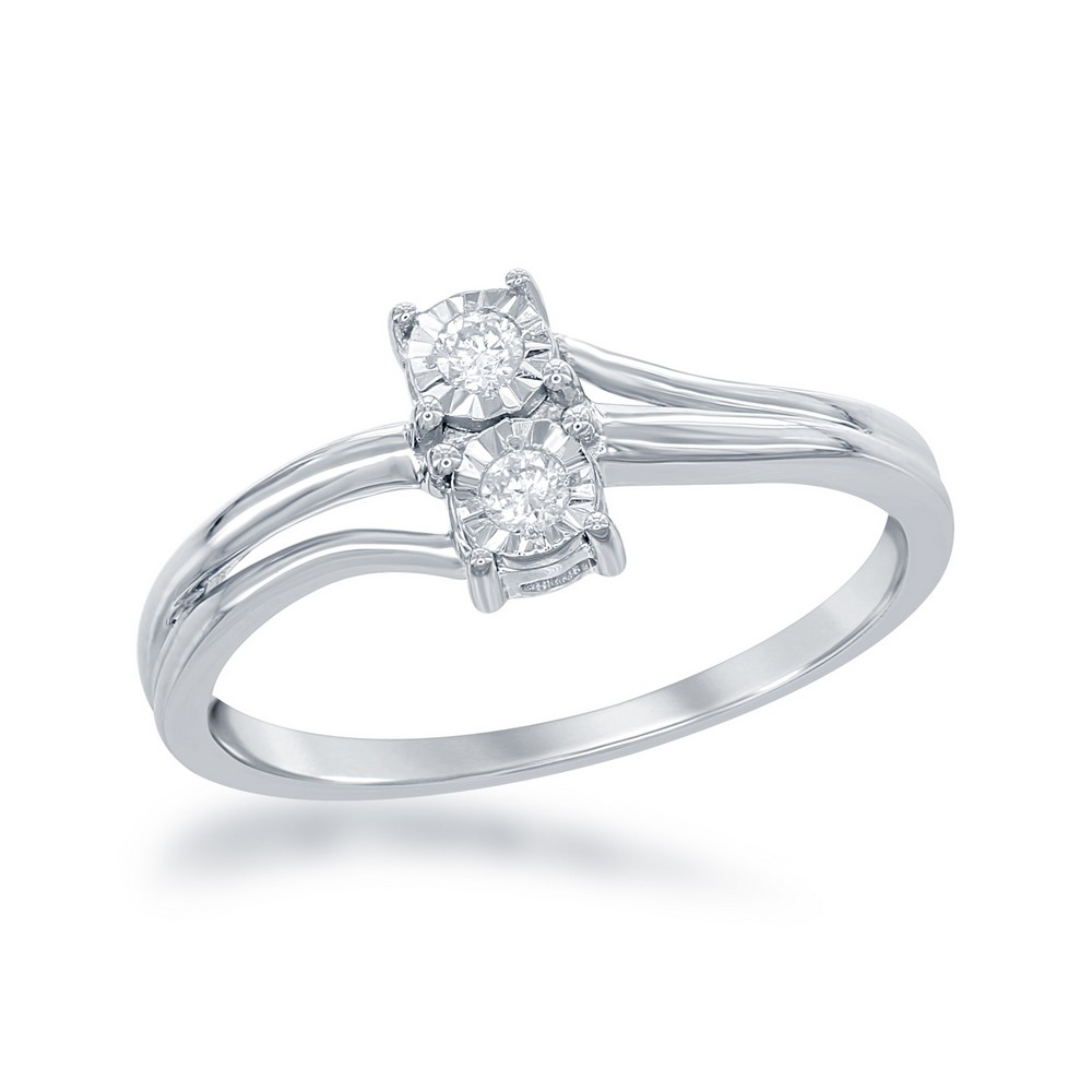 Sterling Silver Us2gether Square Two-Stone Diamond with Diamond Cut Border 1-10th cttw Ring