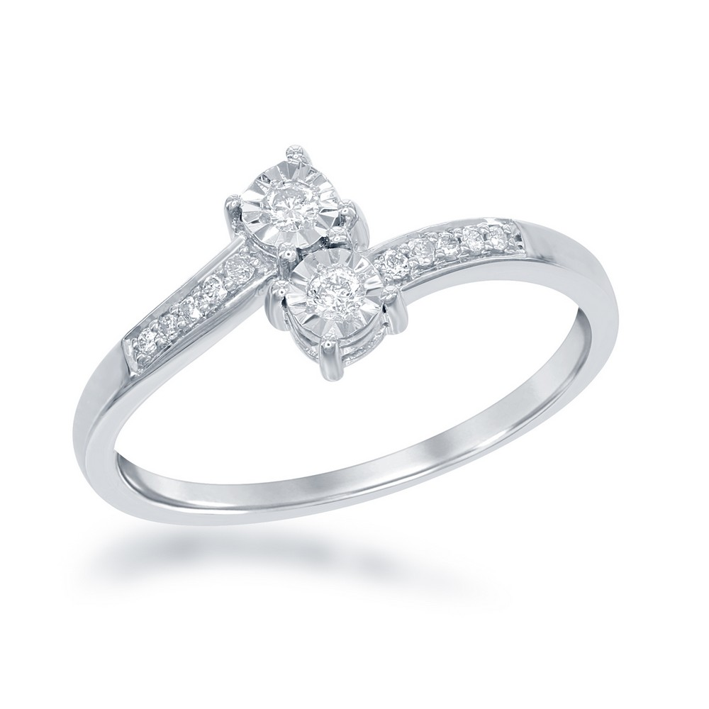 Sterling Silver Us2gether Two-Stone Square Diamond with Diamond Cut Border 1-8th cttw Ring