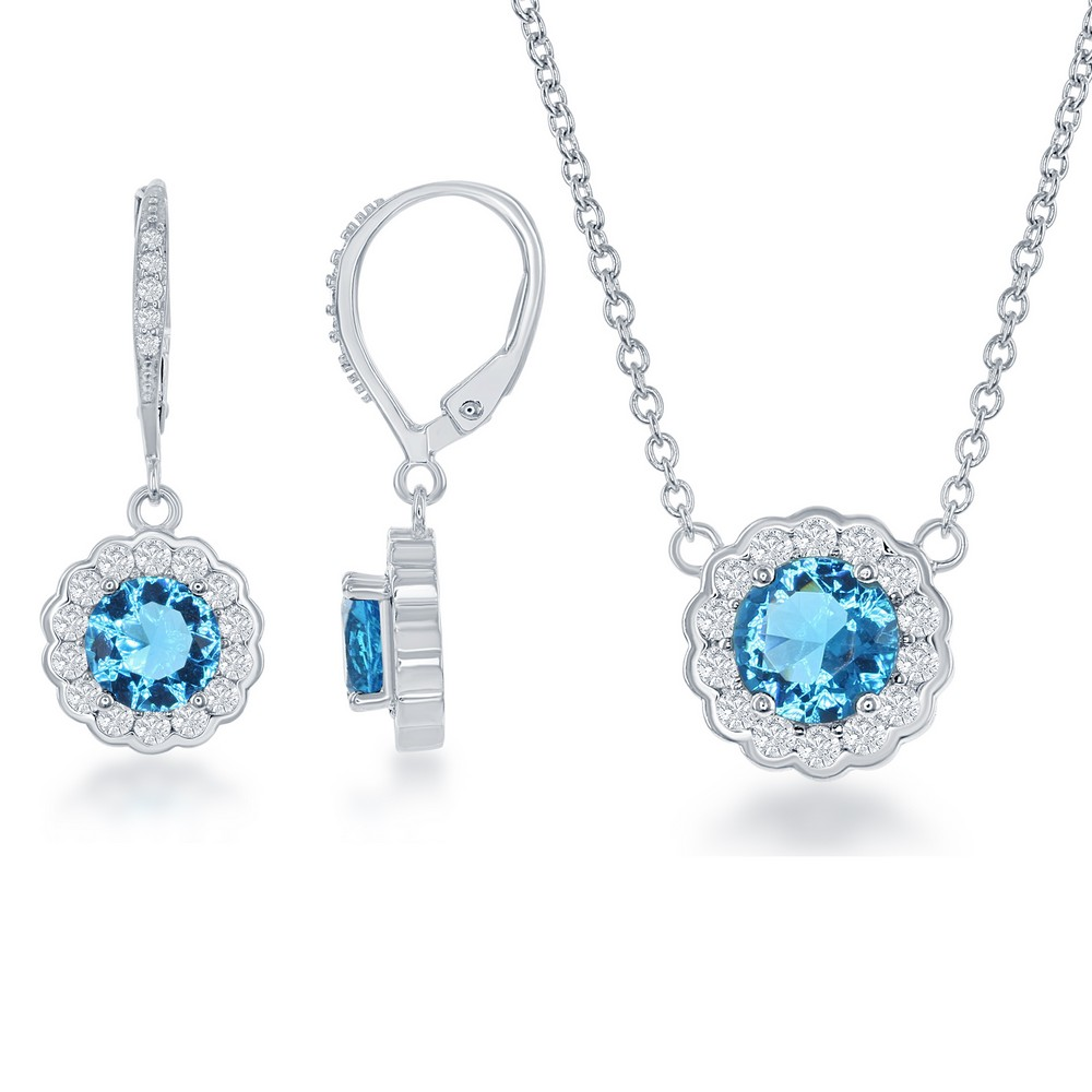 Sterling Silver March Birthstone With  CZ Border Round Earrings and Necklace Set