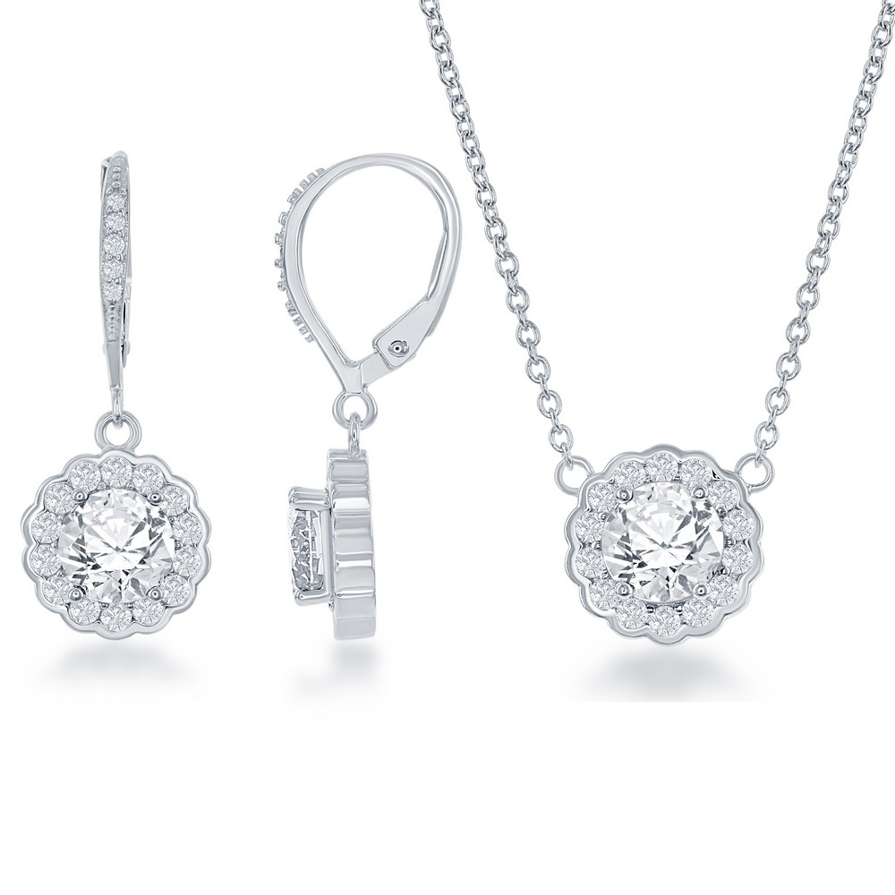 Sterling Silver April Birthstone With  CZ Border Round Earrings and Necklace Set