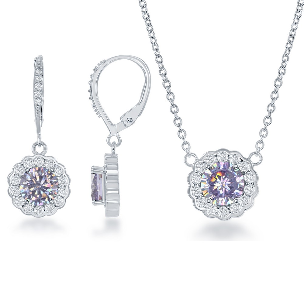 Sterling Silver June Birthstone With  CZ Border Round Earrings and Necklace Set