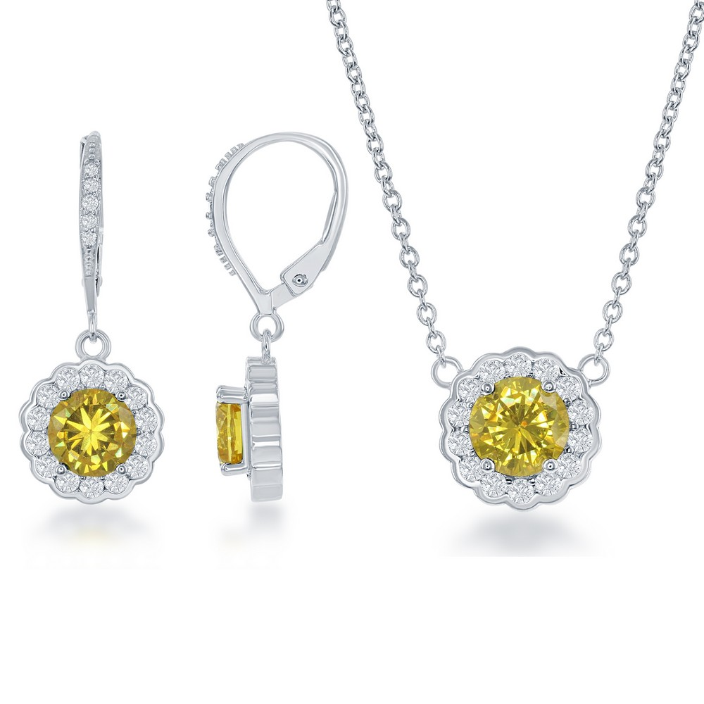 Sterling Silver November Birthstone With  CZ Border Round Earrings and Necklace Set