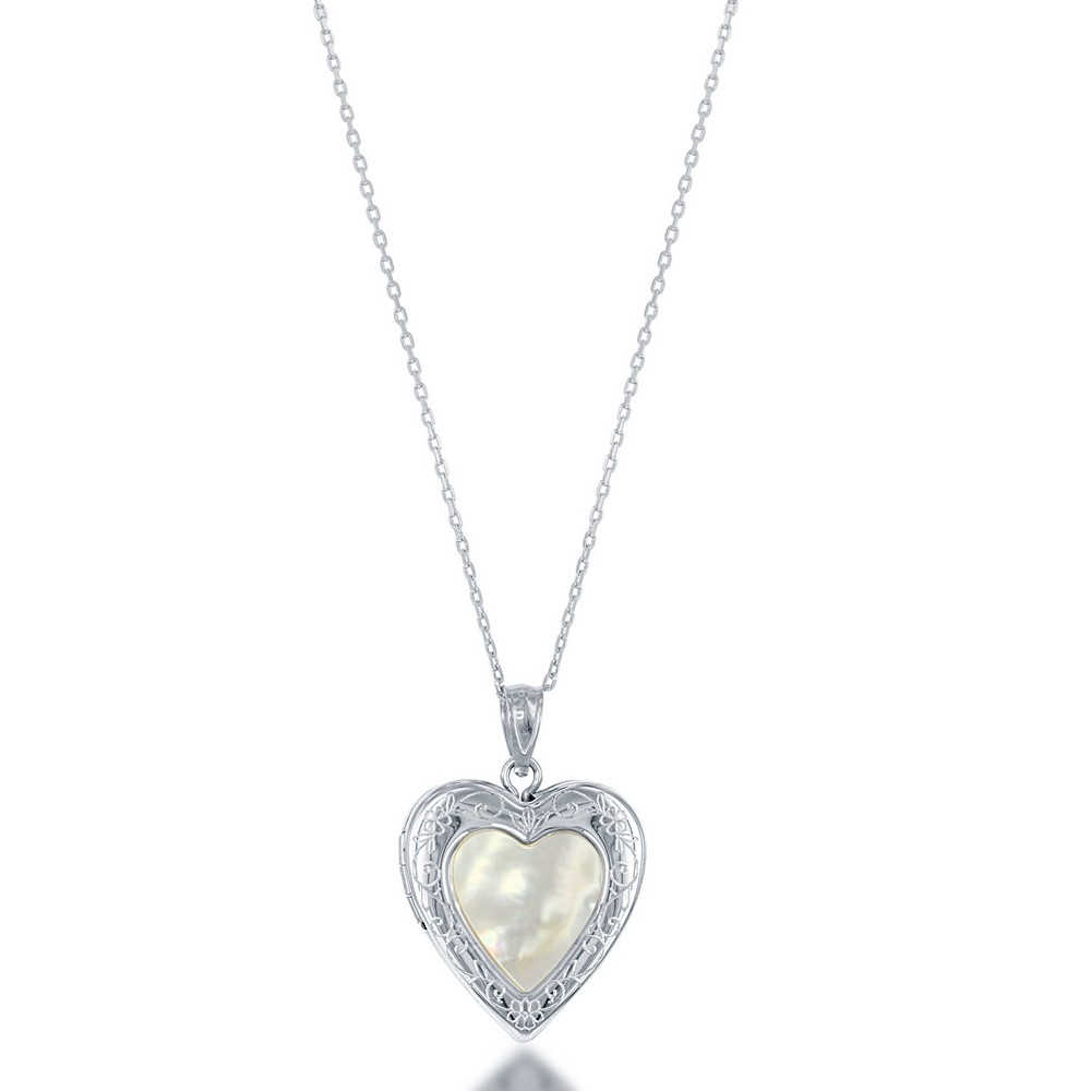 Sterling Silver Mother of Pearl Center Heart Locket