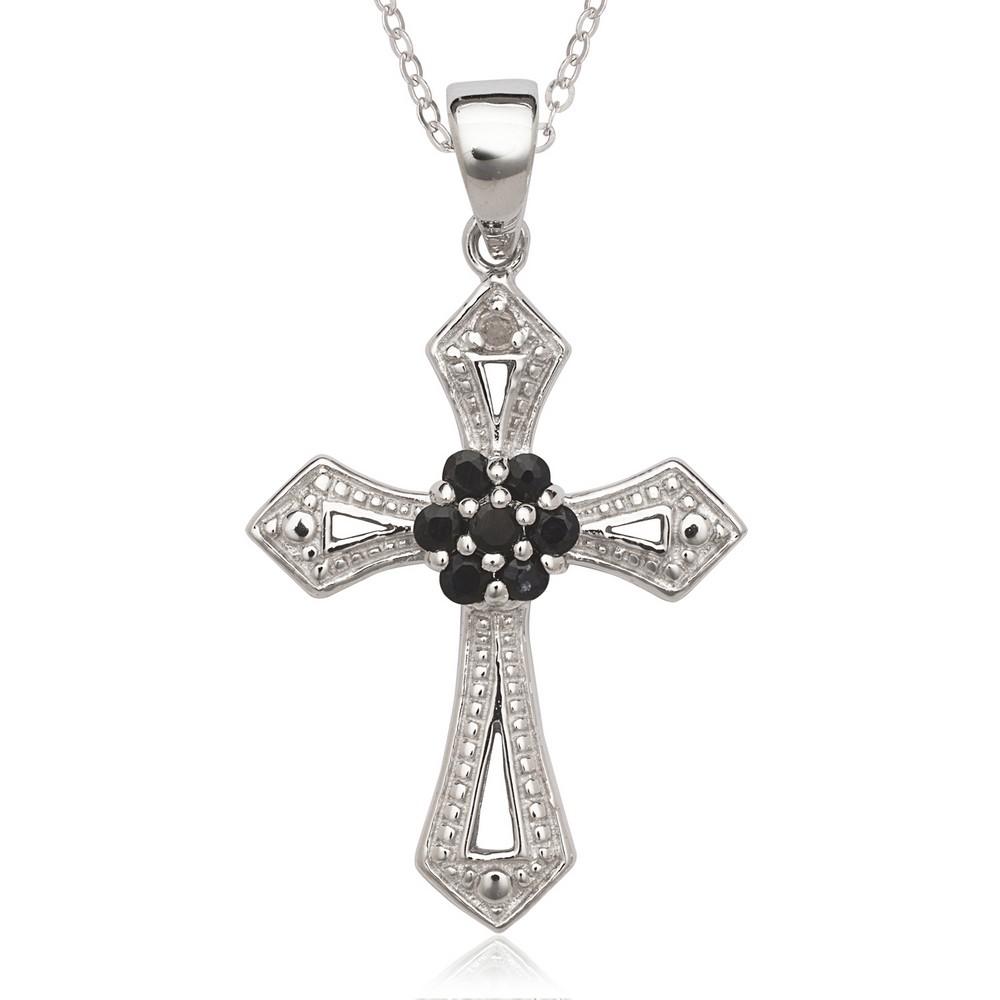 Sterling Silver Diamond Accent & Black Sapphire Cross Pendant