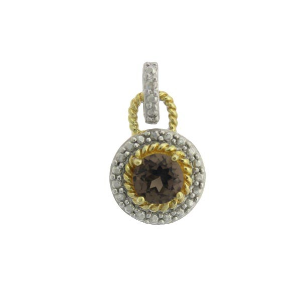Sterling Silver TT Small Circle Pendant with Center Smokey Topaz Gem