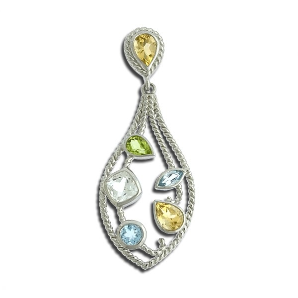 (SPECIAL ORD) Sterling Silver Multi-Colored, Multi-Shaped Gem Pear-Shaped Pendant