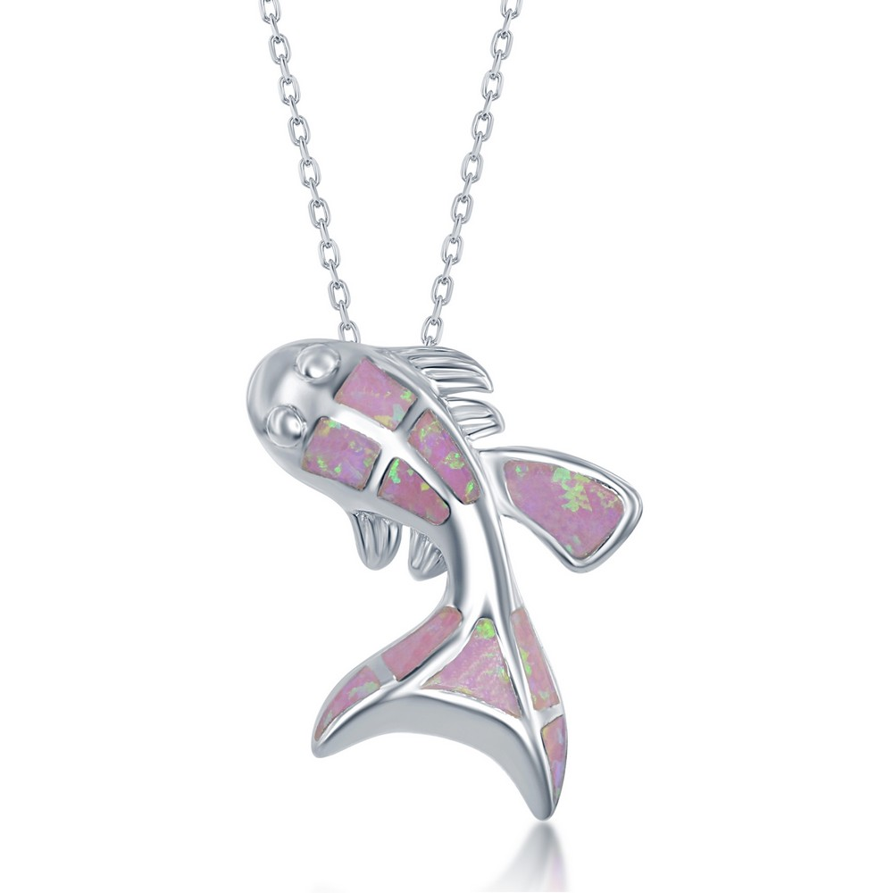 Sterling Silver Pink Inlay Opal Fish Pendant