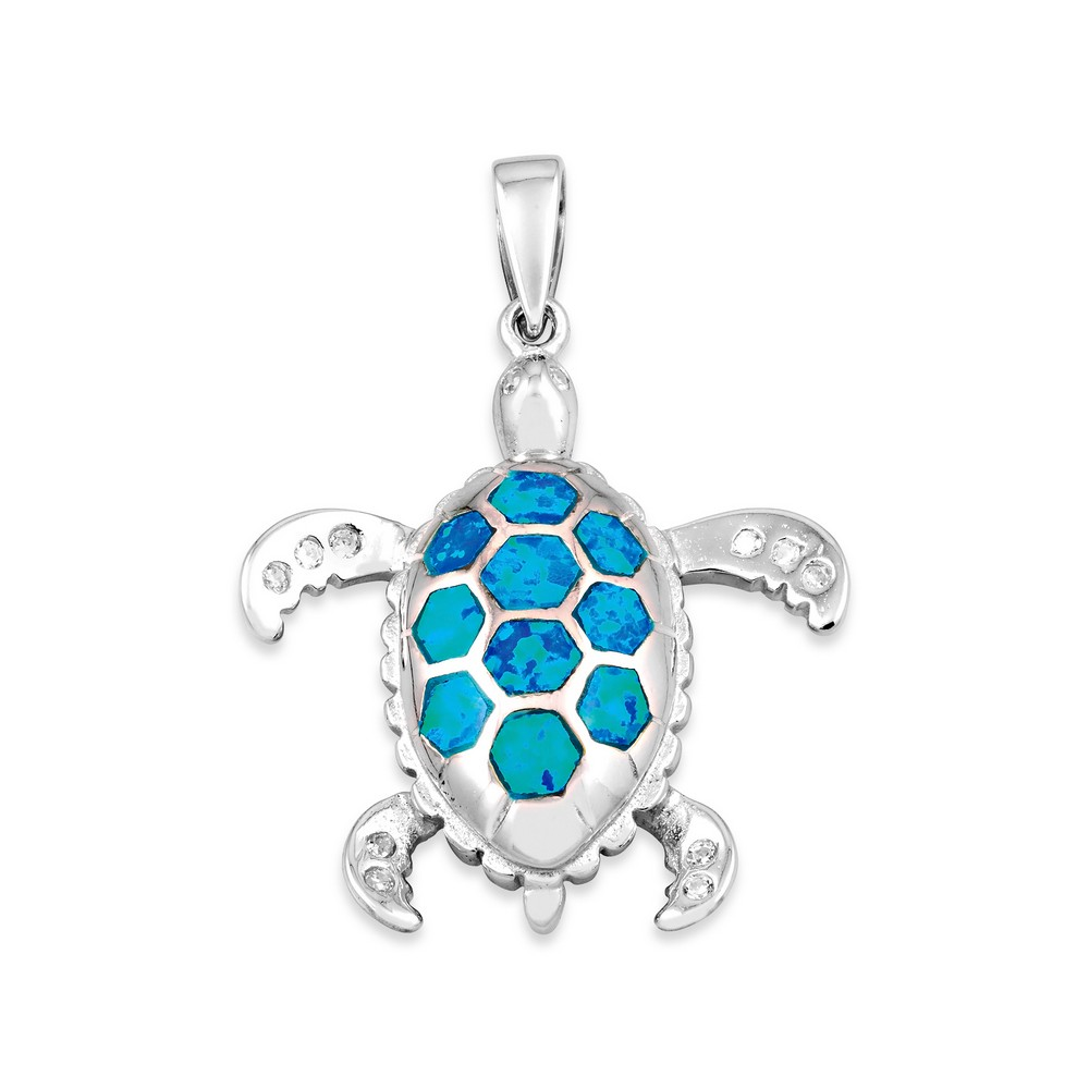 Sterling Silver Blue Inlay Opal and CZ Tortoise Pendant