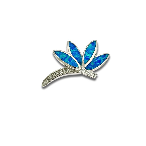 Sterling Silver Blue Inlay Opal and CZ Dragonfly Pendant