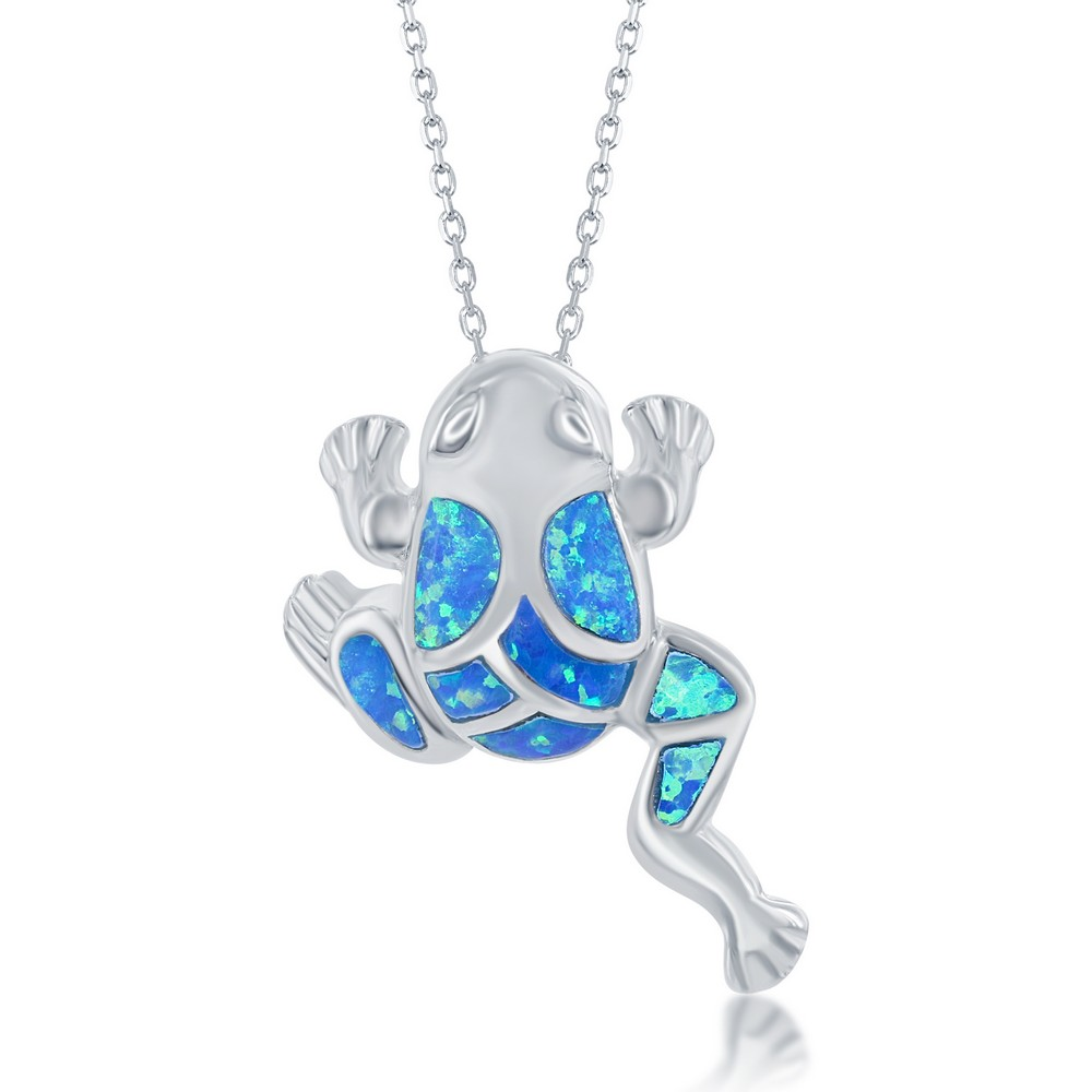 Sterling Silver Blue Inlay Opal Leaping Frog Pendant