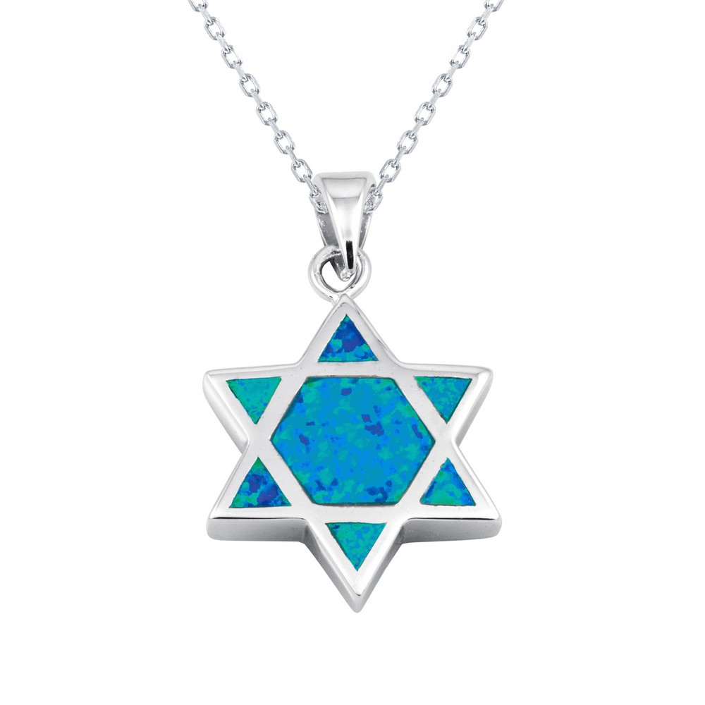 Sterling Silver Blue Inlay Opal Star of David Pendant