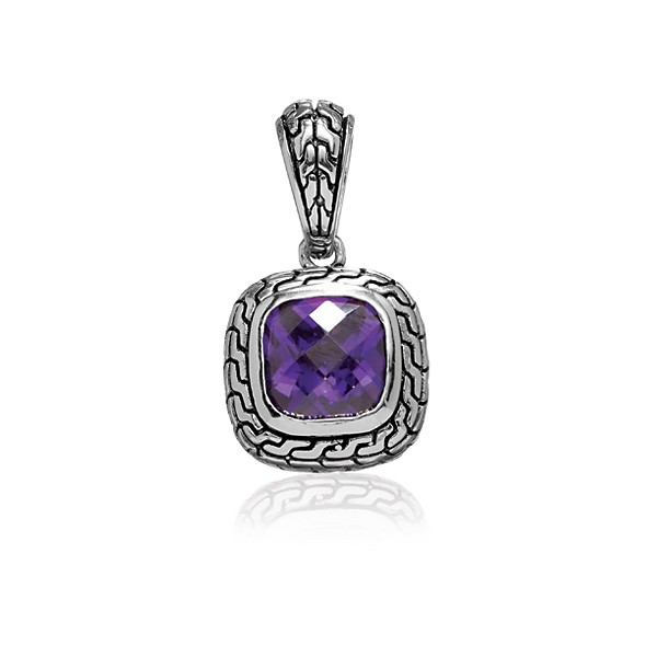 Sterling Silver Center Square Amethyst CZ and Black Finish Pendant