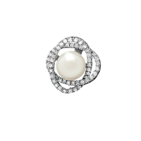 (SPECIAL ORD) Sterling Silver CZ Interlocking Ovals and Center Pearl Pendant