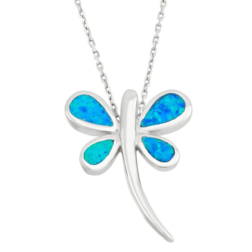 Sterling Silver Blue Inlay Opal Dragonfly Pendant