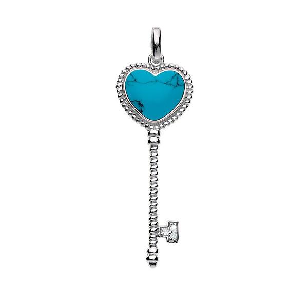 (SPECIAL ORD) Sterling Silver Turquoise Heart-Top Twisted Key With  CZ Pendant