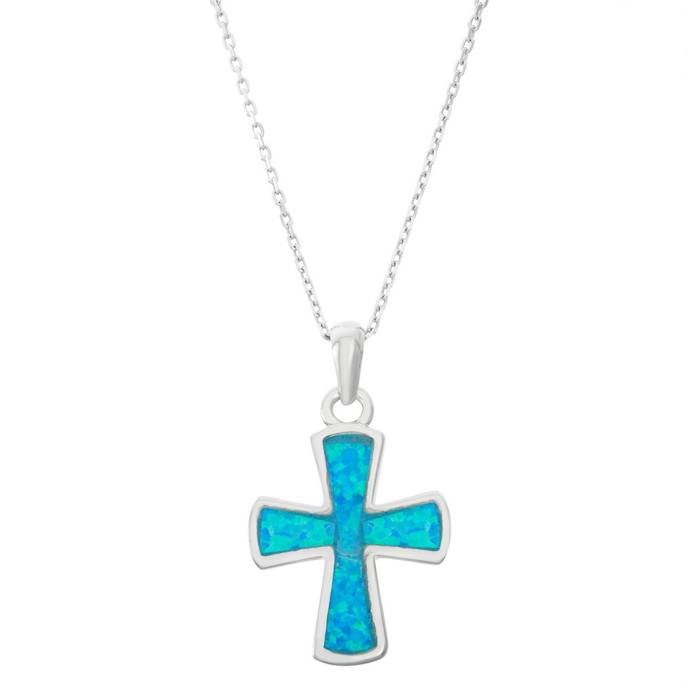 Sterling Silver Blue Inlay Opal Rounded Cross Pendant