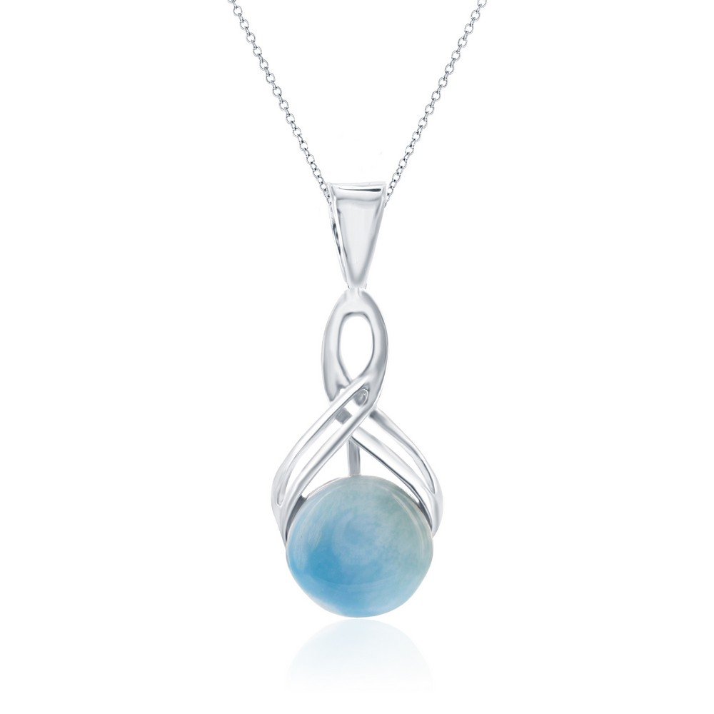 Sterling Silver Infinity Round Larimar Pendant