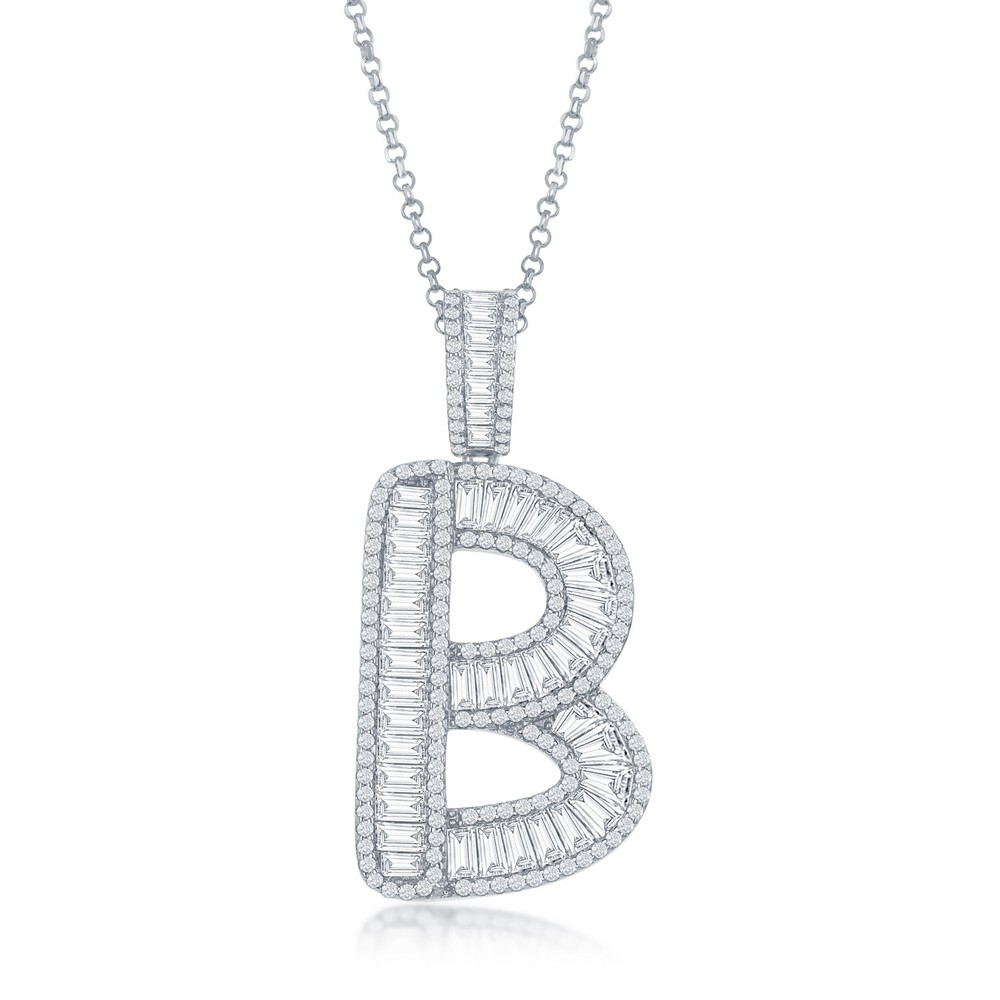 Sterling Silver Baguette CZ 'Extra Large' 'B' Initial Pendant With Chain