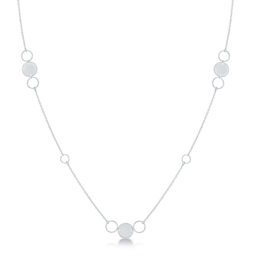 Sterling Silver Alternating Polished & Open Disc Necklace
