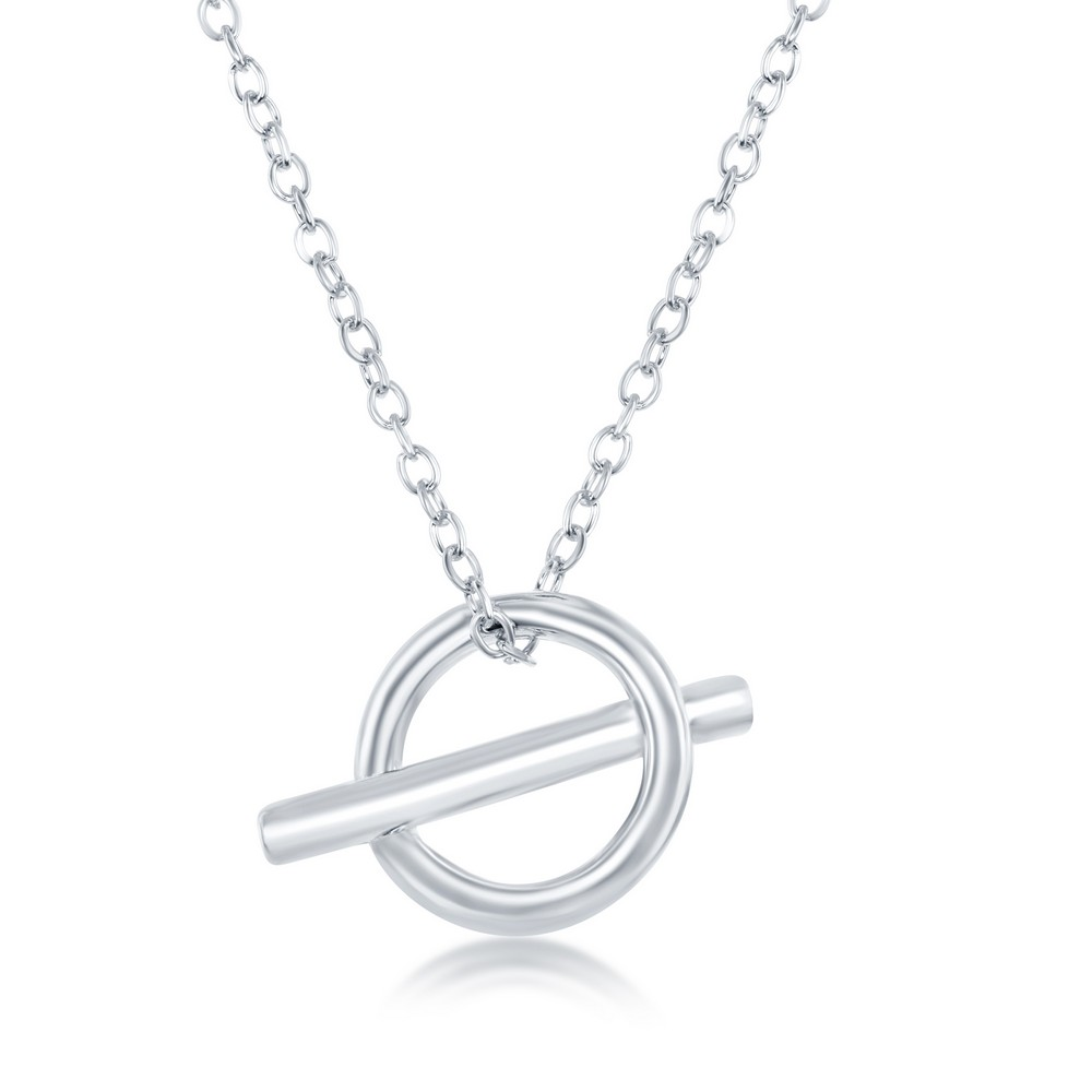 Sterling Silver Open Cricle & Bar Necklace