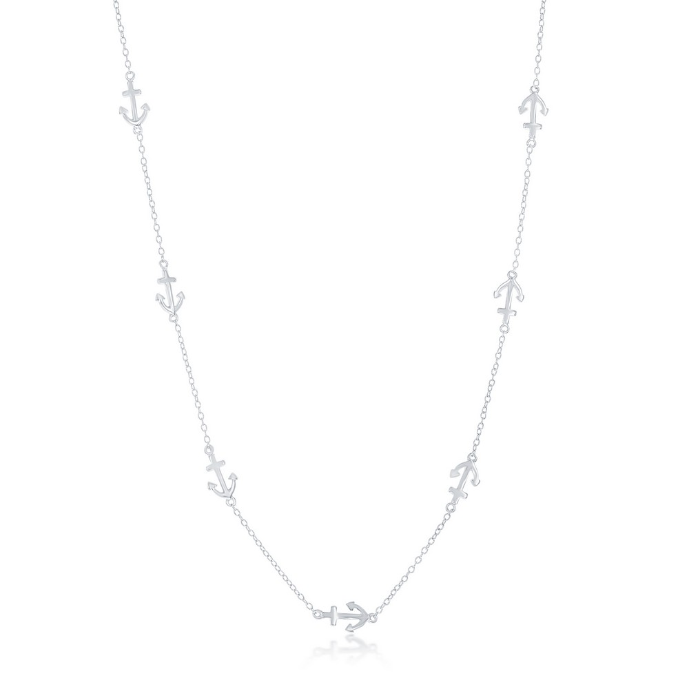 Sterling Silver Anchor by the Yard Necklace
