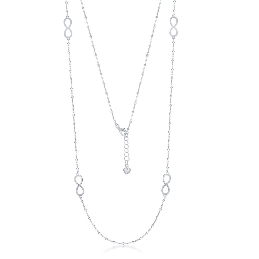 Sterling Silver Infinity Design and Beads by the Yard Necklace