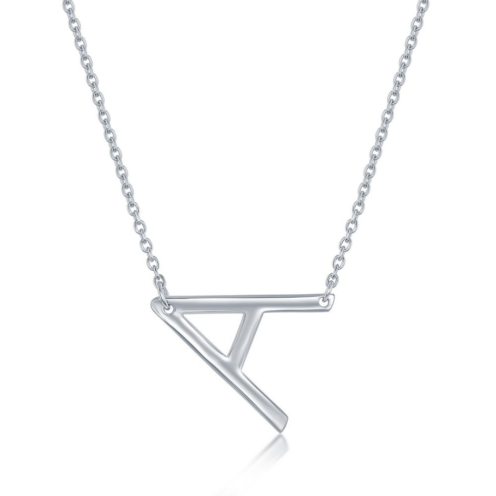 Sterling Silver Sideways 'A' Initial Necklace