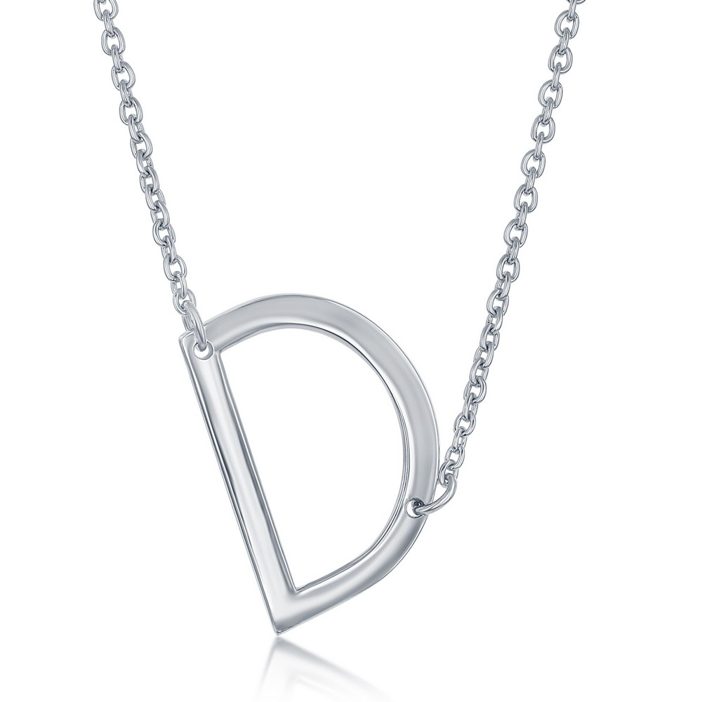 Sterling Silver Sideways 'D' Initial Necklace