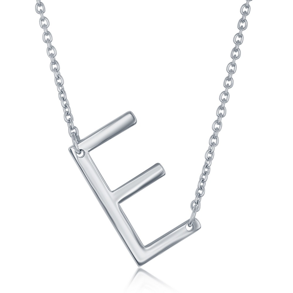 Sterling Silver Sideways 'E' Initial Necklace