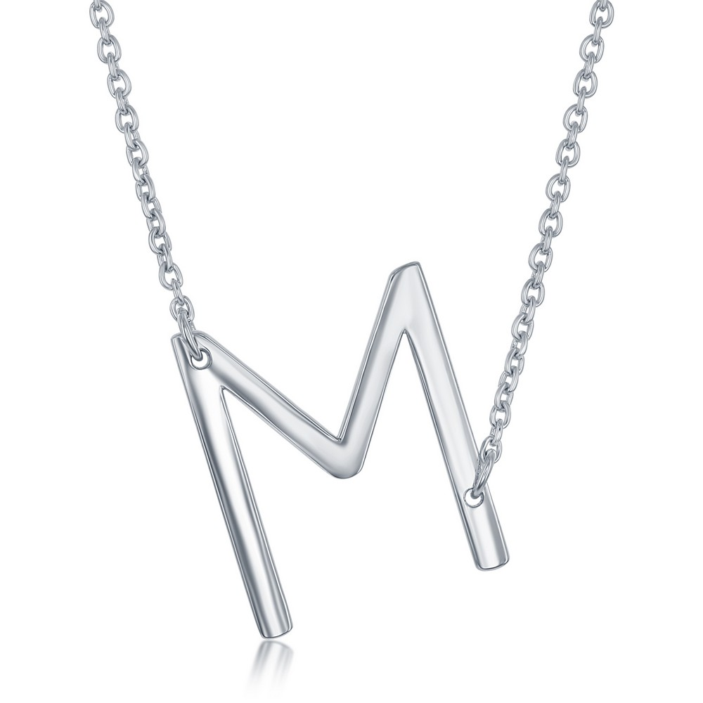 Sterling Silver Sideways 'M' Initial Necklace