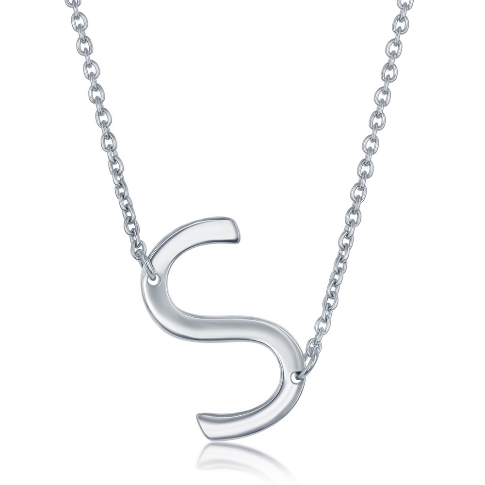 Sterling Silver Sideways 'S' Initial Necklace