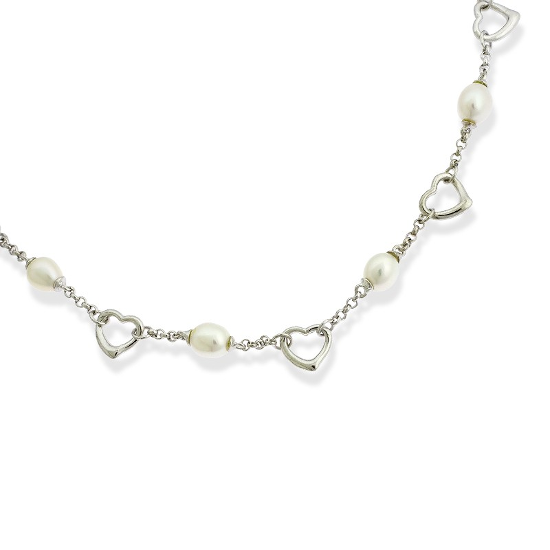 Sterling Silver Alternating Open Hearts and FWP Pearls Necklace