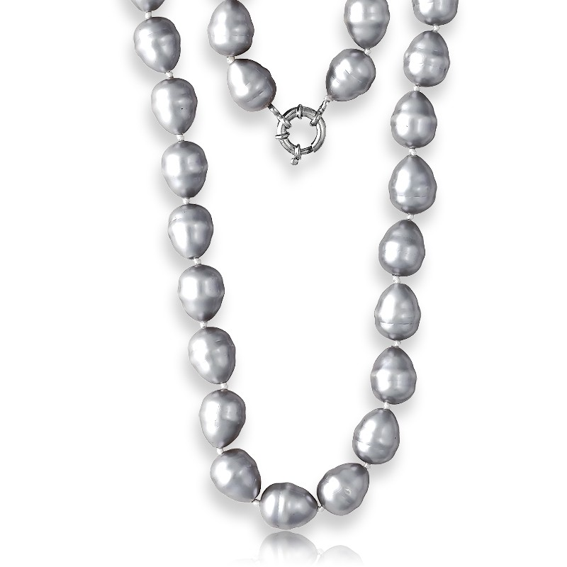 Sterling Silver  Silver Shell Pearls Necklace