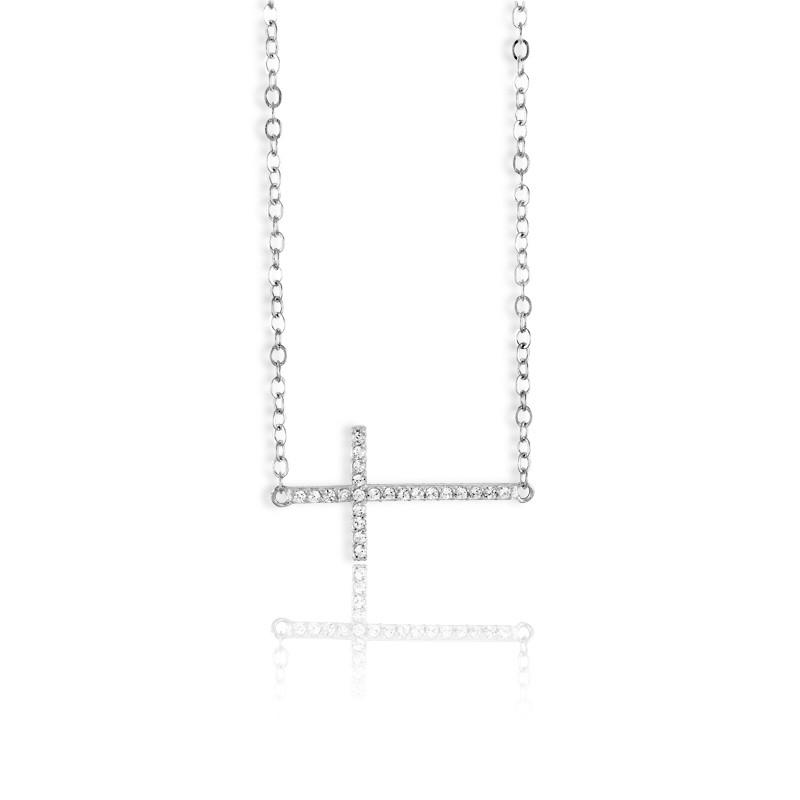 Sterling Silver  Sideways CZ Cross Necklace