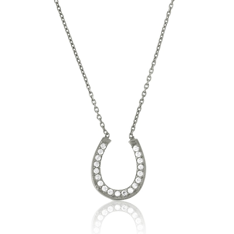 Sterling Silver 16 CZ Horse Shoe Necklace