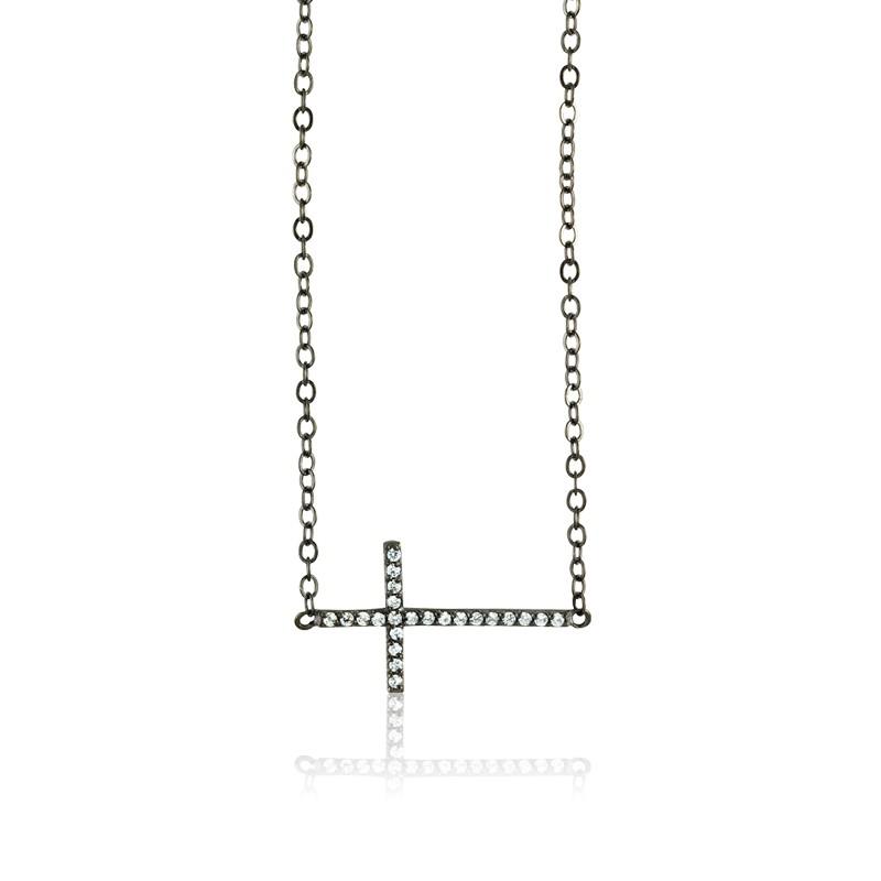 Sterling Silver  Black Rhodium Sideways CZ Cross Necklace