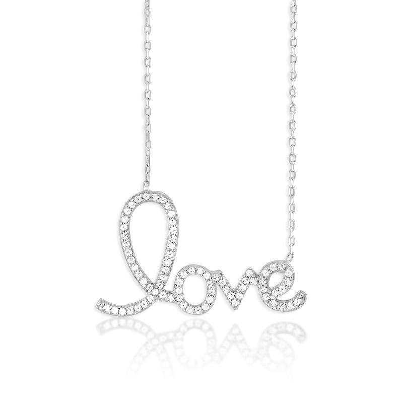 Sterling Silver Large CZ LOVE Script Necklace