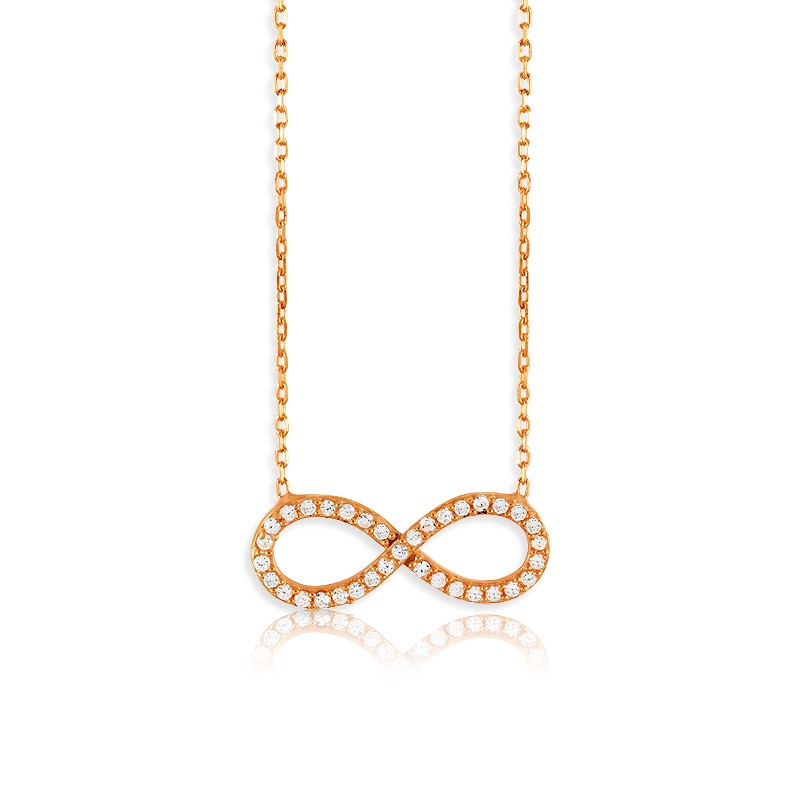 Sterling Silver  Rose GP CZ Infinity Necklace