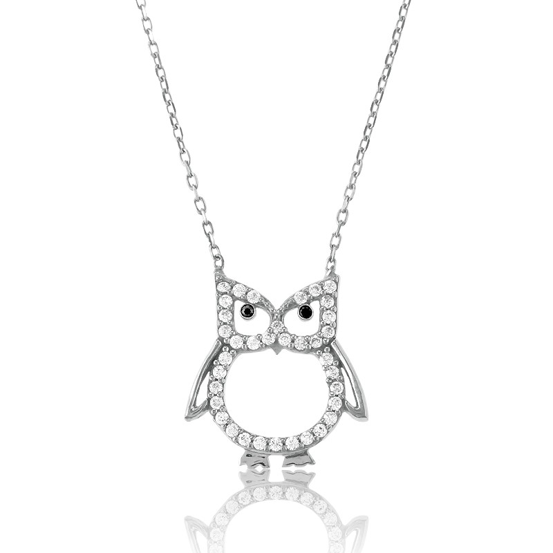 Sterling Silver CZ Open Owl Necklace